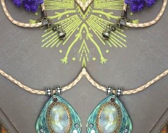 SALE clay NECKLACE,  jasper necklace, mixed media necklace, oval pendant,boho necklace,leather necklace, hippy necklace, Om necklace Zasra