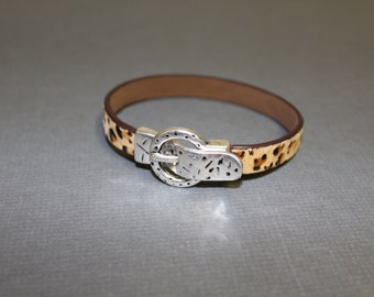 Animal print and silver buckle bracelet