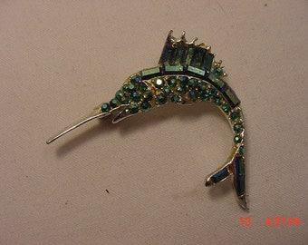 Vintage Rhinestone Swordfish Brooch  17 - 149