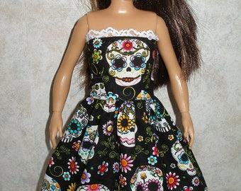 Handmade clothes for doll such as Lammily- black and white sugar skulls print dress