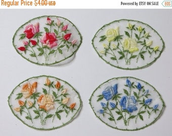 Store Closing SALE Vintage Organza Rose Appliques - Set of 4- Embroidered Roses - Satin Stitched - Embellish Quilt - Clothing - Scrapbooking