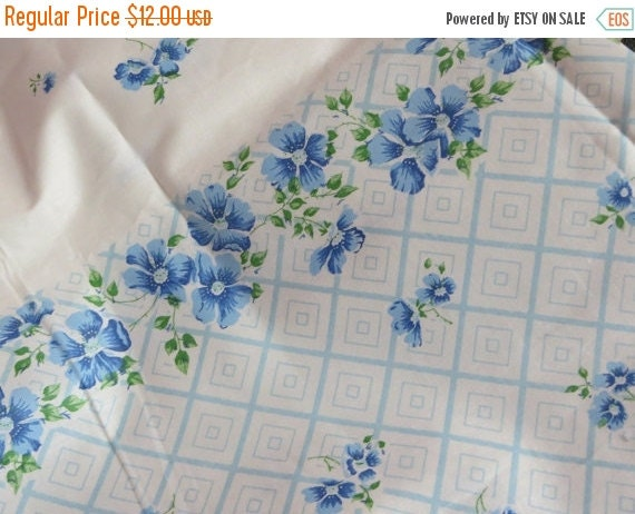 ON SALE Vintage Feedsack Border Print Fabric-Sweet Blue Floral-BTY-1 Yard-more available