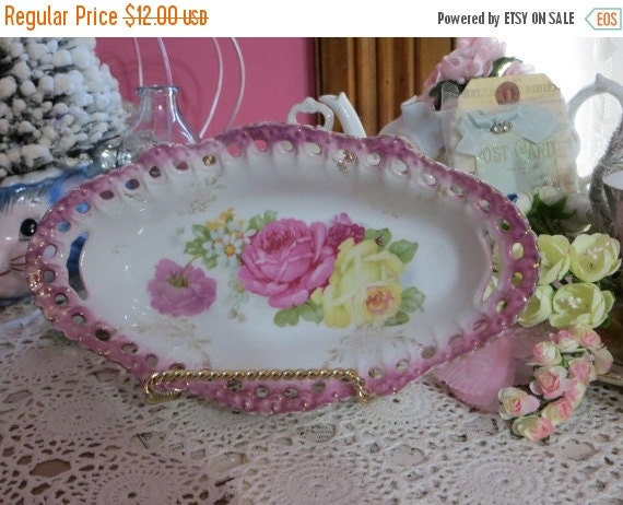 ON SALE Vintage Bavaria Germany Condiment Dish-Tray-Roses-Shabby-Cottage Chic