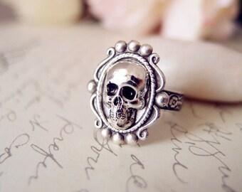 Leila-- skull Ring-adjustable-steampunk-Victorian-edgy chic VS038