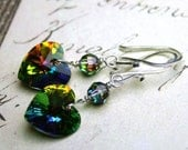ON SALE Heart Earrings In Rainbow - Sterling Silver And Swarovski Crystal in Vitrail Medium - Wire Wrapped Hearts