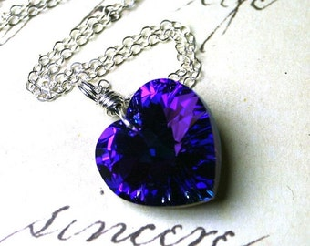 ON SALE Large Swarovski Crystal Heart Pendant in Heliotrope - Purple and Blue - All Sterling Silver