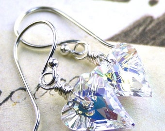 ON SALE Swarovski Wild Heart Crystal Earrings in Crystal AB - Handmade with Sterling Silver and Swarovski Crystal