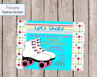 Lets Skate Birthday Party Invitation Style DI286 DIGITAL FILE - Printable - by Unique Scrap Designs
