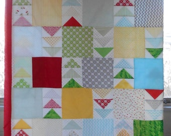 """Summertime - Unfinished FULL or QUEEN Sized Quilt Top using Waverly Fabric - 9"""" Squares, Flying Geese"""