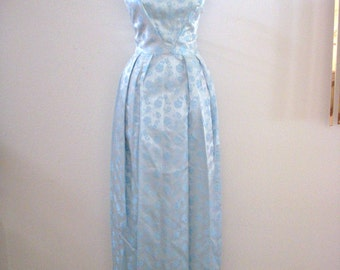 Vintage 1960s Blue Evening Dress - 60s Maxi Prom Dress - Pale Blue Jacquard Party Dress with Issues - Size Medium estimated