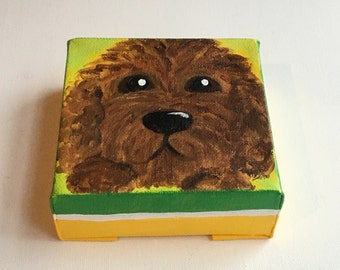 Poodle  4x4 Daily Doodle Mini acrylic  dog painting