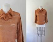 vintage 1930s crochet top - PUMPKIN burnt orange sweater / M