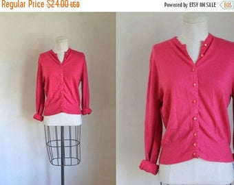 40% OFF anniversary sale vintage 1960s cardigan - STRAWBERRY TAFFY pink sweater / M/L