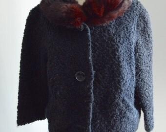 Hollywood 60s Winter Cropped Black Boucle Jacket Coat Rabbit Fur Collar