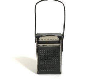 vintage MID-CENTURY silver with black leather case RADIO am/fm portable workspace studio walkman style radio stereo player