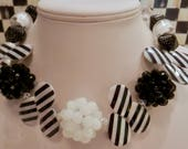 Black and White Artisan Necklace Big and Bold Lucite Cluster Beads