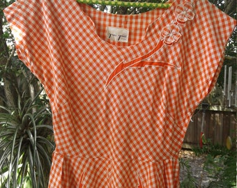 50s TONI TODD—Orange Gingham Day Dress with Appliquéd Flowers—Thin Cotton—Cap Sleeves—Size 6/8
