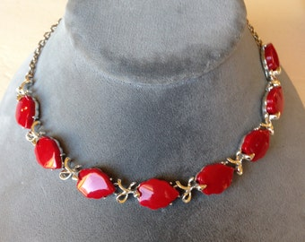Vintage Thermoset Lucite Red Red Necklace Silver Metal Mounted Original Vintage 1940