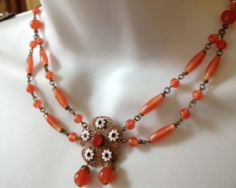 Vintage French Enamel Flower Filigree Glass Bead Drape Necklace