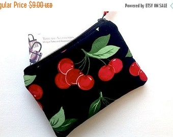 SUNDAY SALE Cherries Zipper Pouch/Change Purse/Small Gadget Case/Coin Purse/Card Case/Padded Cosmetic Bag/Small Wallet/Clutch/Red Cherries o