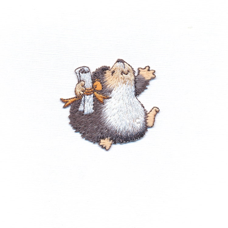 Happy hedgehog patch celebration applique woodland
