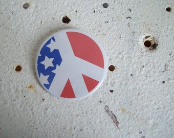 Vintage pin back button PEACE sign American flag back round 1960s anti war sentiment Free shipping to USA