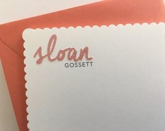 Glitter Name Stationery 2, personalized stationery, scallop