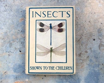 Vintage insects book - childrens reference picture book Photography Prop