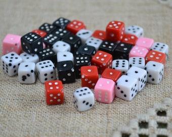 50pcs Acrylic 11mm Bead Dice Opaque Multicolored Diagonally Cube Beads