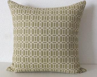Linen Green Lattice Pillow Cover