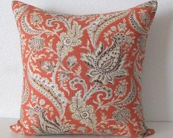 Coral Paisley Floral Jacobean Pillow Cover
