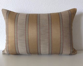 Golden Tan Striped Pillow Cover