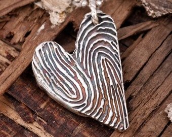 Personalized Fingerprint Jewelry with Two Hearts Beating As One - Handmade in Sterling Silver- 2 Fingerprints