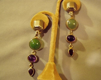 Vintage Sterling Silver Artist Signed Clip Earrings With Amethyst Garnet Jade Stones 8775