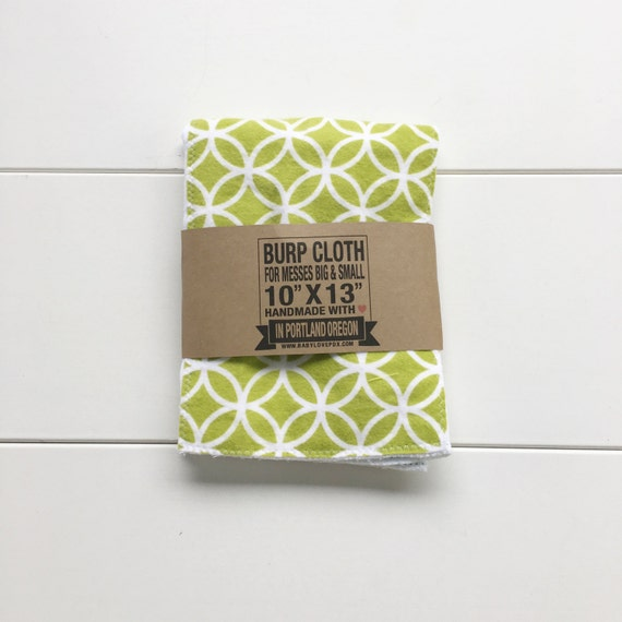 Green Lattice Print Cotton Flannel Burp Cloth - Baby Shower Gift - New Mom Essential
