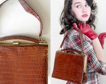 Vintage 1940s  Brown Alligator Handbag / 40s Reptile Skin Kelly Bag Purse