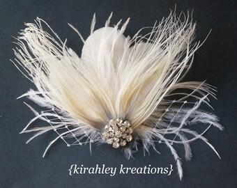 Ivory White Peacock Ostrich Feather Veil Prom Wedding Bride CYNTHIA Fascinator Headpiece Hair Clip Rhinestone Customizable Great Gatsby