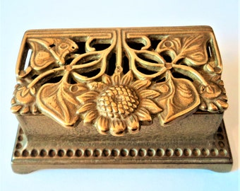 Art Nouveau Stamp Box... Vintage Brass