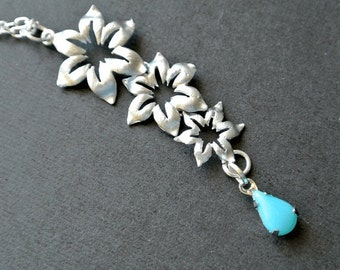 Flower Cascading Necklace with Turquoise Teardrop Stone,Flower Necklace,Matte Silver Triple Flowers Necklace