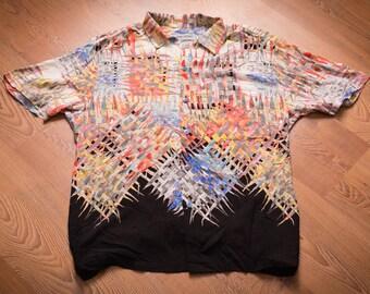 Jams World Crazy Graffiti Weave Graphic Shirt, Vintage 80s-90s, Rap Hip Hop Colorful Fashion