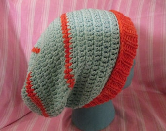 100% Cotton Slouchy Seaglass and Hand dyed Orange