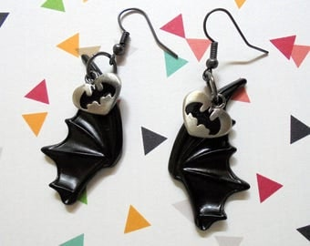 Black and Silver Bat Wing Earrings (3407)