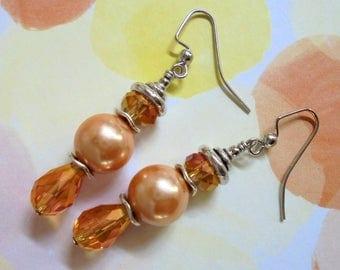 Peach Pearl and Crystal Earrings (3455)