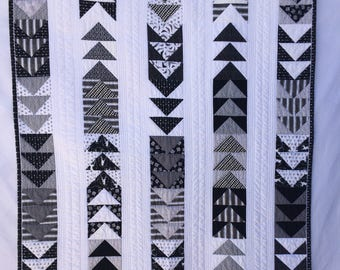 Modern Baby Boy Quilt, Modern Nursery Wall Quilt  in Grey, BLack and White,  by Dream Vintage Sheets