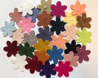 Wool Felt Daisy Flower Die Cut 30 ct. - Random Colored 3009 - Wool Felt Flower - Felt Daisy - Flower Crown - Headband Supply - Kids Crafts
