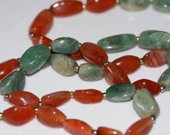 Heavy Agate and Adventurine Necklace Green and Coral Amber Colored Vintage  Free USA shipping great mothers day gift