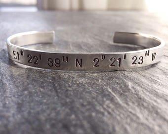 Longitude Latitude Cuff Bracelet - GPS - Custom Coordinates - Personalized Jewelry - GPS Cuff - Longitude Bracelet - Unisex Bracelet