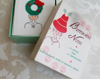 Vintage Button Hole Notes Cards Hand Decorated Assorted 3-D Felt Ladies Christmas Hats Set of 10 In Original Box Made In Japan, Mad Hatter
