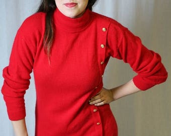 MaySale Vintage 80s Sweater Dress in Lipstick / Holiday Red, military details S-Med