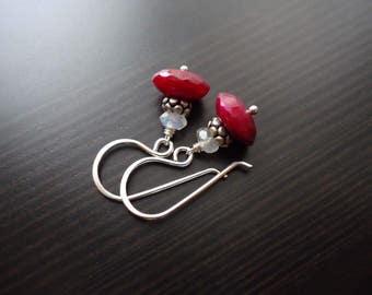 Ruby and Moonstone Earrings, Dangle Earrings, July Birthstone, Sterling Silver